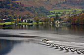 Pleasure boat on Ullswater lake,  approaching Glenridding,  Lake District,  Cumbria,  England