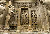 8th Century, Ancient, Architecture, Asia, Attraction, Brahma, Century, Color, Colour, Creation, Creativity, Destination, Dravidian, Eighth Century, Exterior, Famous, Figures, Figurines, Hinduism, Historical, Holy, Horizontal, India, Kailasanatha, Kancheep