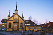 Var Frues Kirke Catholic Church in winter,  polar night,  Tromso. Norway