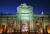 Puerta de Alcalá at Christmas Night view Madrid Spain