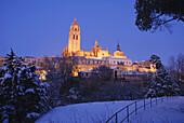 Night view of snow covered city Segovia Castile Leon Spain