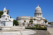 Fountain of the Noble Habana (aka Fountain of the Indian) and Capitol building,  Havana,  Cuba