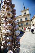 Strings of garlic in the Main Square,  Leon. Castilla-Leon,  Spain