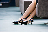Accessories, Accessory, Adult, Adults, Black, Businesspeople, Businessperson, Businesswoman, Businesswomen, Color, Colour, Contemporary, detail, details, Dressed up, Elegance, Elegant, Executive, Executives, Feet, Female, Floor, Floors, Foot, Footgear, Fo