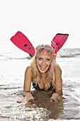 2009, Beach, Blondie, Color, Colour, Contemporary, Costa Adeje, Diego, Diving, Diving mask, Fins, Fun, Girl, Hernandez, Playa, Sirene, Surf, Ténérife, The, XJ9-837660, agefotostock