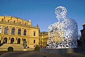 Temporary sculpture at Namesti Jana Palacha square in Josefov the Jewish quarter in Prague Czech Republic Europe