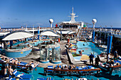 Boat, Caribbean, Color, Colour, Contemporary, Cruise, Deck, Fun, Holiday, Leisure, Navigator, Play, Pool, Recreation, Relax, Relaxation, Seas, Ship, Sun, Sunning, Suntan, Swimming, Tan, Tanning, The, Tourism, Travel, Vacation, XL6-834464, agefotostock