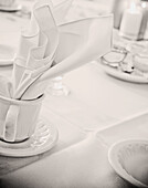 tableware still life,  coffee cups and napkins