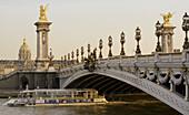 Alexander III bridge over the Seine River,  Paris,  France,  Europe