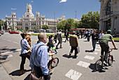 Zebra Crossing,  on bacground Palacio De Comunicaciones,  Plaza de Cibeles,  Madrid,  Spain