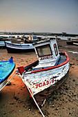 Barcos varados en el puerto de Santi Petri,  Chiclana,  Cadiz,  Andalucía,  España.,  Boats stranded at the port of Santi Petri,  Chiclana,  Cadiz,  Andalucia,  Spain.