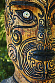 A carved Maori statue Picton,  New Zealand