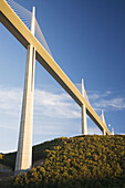 France,  Midi Pyrenees,  Aveyron The Millau Viaduct is the tallest vehicular bridge in the world,  with one mast´s summit at 343metres It goes through the Tarn river valley near Millau Designed by the structural engineer Michel Virlogeux