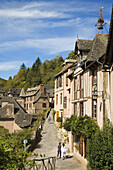 France,  Midi Pyrenees,  Aveyron,  Conques St Foy Abbey The village is built on a hillside,  with narrow Medieval streets