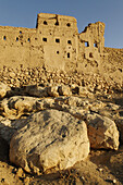 ruins of the historic adobe city of Al Sulaif near Ibri,  Hajar al Gharbi Mountains,  Al Dhahirah Region,  Sultanate of Oman,  Arabia,  Middle East