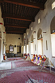 traditional arabian sittingroom,  historic adobe fortification Nakhal,  Nakhl Fort or Castle,  Hajar al Gharbi Mountains,  Batinah Region,  Sultanate of Oman,  Arabia,  Middle East