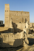 historic adobe fortification,  old town of Sinaw,  Sharqiya Region,  Sultanate of Oman,  Arabia,  Middle East