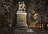 Poland Krakow,  Planty,  walkaway park around Old Town,  Monument to queen Jadwiga and King Jagiello