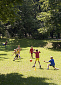 boys play succer ball