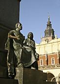Poland Krakow,  Monument to great polish poet Adam Mickiewicz detail