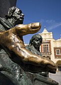 Monument to great Polish poet Adam Mickiewicz,  detail at Main Market Square,  Krakow,  Poland