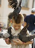 Poland,  Krakow,  Main Market Square,  pigeons and boy having fun