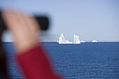 Binocolars and icebergs from Ilulissat Kangerlua Icefjord, Ilulissat (Jakobshavn), Disko Bay, Kitaa, Greenland