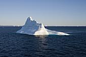 View at icebergs of Ilulissat Kangerlua, Isfjord in the sunlight, Disko bay, Kitaa, Greenland