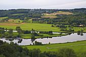 View over river Ruhr to Bochum-Stiepel, Hattingen-Blankenstein, North Rhine-Westphalia, Germany
