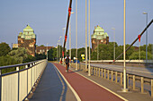 Friedrich-Ebert-Brücke across the  river Rhine at Duisburg-Ruhrort, Industrial Heritage, Ruhrgebiet, North Rhine-Westphalia, Germany, Europe