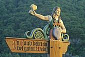 Advertising sign for wine, near Kaub, Rhine river, Rhineland-Palatinate, Germany