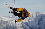 Freestyle skier in mid-air, Zugspitze, Garmisch-Partenkirchen, Bavaria, Germany