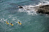 Surf kayaks in the bay of Paguera, Mallorca, Balearic Islands, Spain