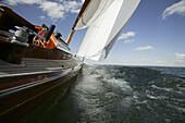 Sailing yacht Skerry Cruiser on Lake Chiemsee, Chiemgau, Bavaria, Germany