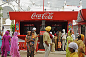 People at a snack bar in front of the Golden Temple, Sikh holy place, Amritsar, Punjab, India, Asia