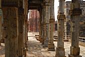 Qutb Minar, pilars of Quwwat-ul-Islam mosque, New Delhi, Indian capital, India, Asia
