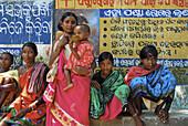 Tribal women at market, Tribal region in Koraput district in southern Orissa, India, Asia