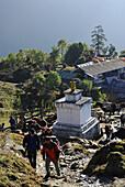 Trekker at Tshoka village, Trek towards Gocha La in Kangchenjunga region, Sikkim, Himalaya, Northern India, Asia