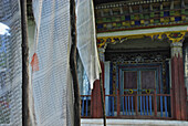 Prayer flags at small monastery, Sikkim, Himalaya, Northern India, Asia
