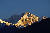 View at the Kangchenjunga mountain at sunrise, Sikkim, Himalaya, Northern India, Asia