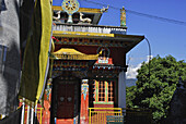 Entrance of Pemayangtse monastery in the sunlight, Sikkim, Himalaya, Northern India, Asia