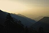 View at mountains at sunset, Trek towards Gocha La in Kangchenjunga region, Sikkim, Himalaya, Northern India, Asia