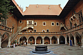 Inner courtyard at Collegium Maius, University, Krakow, Poland, Europe