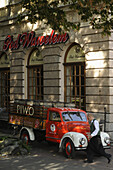 Old beer truck in front of Pod Wawelem restaurant, Krakow, Poland, Europe