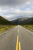 Empty country road on the fjell, Norway, Scandinavia, Europe