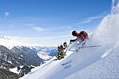 Freerider downhill skiing, Disentis, Surselva, Grisons, Switzerland