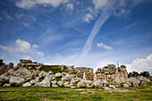 Ruins of the 7000 year old Ggantija temple under clouded sky, Gozo, Malta, Europe
