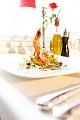 Fish dish, restaurant Neuweier castle, Baden-Baden, Black Forest, Baden-Wuerttemberg, Germany