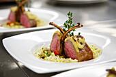 Lamb dish served in the Signina restaurant, Rocksresort, Laax, Canton of Grisons, Switzerland