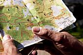 Hands holding map, Ebbs, Tyrol, Austria